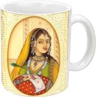 Jiyacreation1 Beautiful Rajasthani Queen Multicolor White Ceramic Mug (3.5 Ml)
