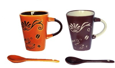 Devinez Angled Ceramic Mug (100 Ml, Pack Of 2)