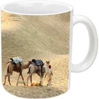 Jiyacreation1 Beautiful Camel In Desert Multicolor White Ceramic Mug (350 Ml)