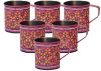 ECraftIndia Handpainted Decorative Stainless Steel Mug (180 Ml, Pack Of 6) - MUGEGCARYRGGEZ7E