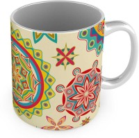Home India Unique Floral Design Printed Off White Coffee  571 Ceramic Mug (300 Ml)