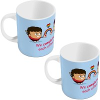 Little India Blue Designer Romantic Printed Coffee  Pair 803 Ceramic Mug (300 Ml, Pack Of 2)