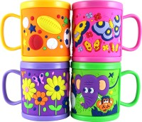 Radius Colorful Mugs For Kids With Cartoon Designs (Pack Of 4) Plastic Mug (300 Ml, Pack Of 4)