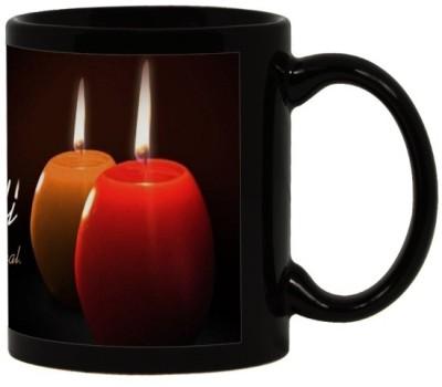 Lolprint 119 Diwali Gift Black Ceramic Mug