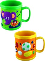 Radius Colorful Embossed Mugs Pack Of Two For Kids Plastic Mug (300 Ml, Pack Of 2)