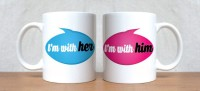 StyBuzz I Am With Her And I Am With Him Couple Porcelain Mug (300 Ml, Pack Of 2)