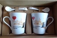 Satyam Kraft Couple S - Love Mugs With Ceramic Spoon And Box Packing - Version 2 Ceramic Mug (340 Ml, Pack Of 2)