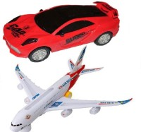 New Pinch Musical Car 3D Lights With Plane Bump And Go Action (Multicolor)