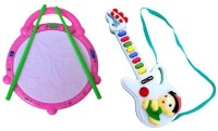 A M Enterprises Flash Drum With Mini Guitar For Kids (Multicolor)