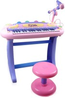 BuddyFun 37 Key Electronic Piano Set With Stool + Microphone + Mp3 Plug-In Option + Bright Blinking Light Features For Music Learning & Training (Pink)