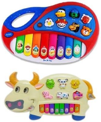 Shop & Shoppee Combo Of Animal Farm & Funny Cow Kids Piano (Multicolor)