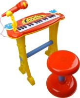 Buddy Fun Electronic Symphonic Piano / Key Board Organ – Educational Musical Toy With Mp3 Plug-In Option + Sing-Along Microphone (Red)