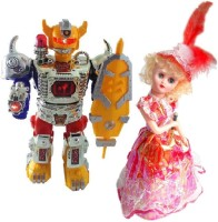 New Pinch Combo Of Dancing Robot Beat The Megnum With Musical Doll For Kids (Multicolor)