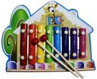 Shopat7 Giraffe Shape Multicolor Wooden Xylophone (Multicolor)
