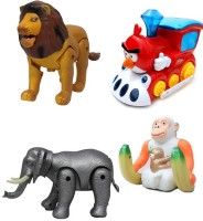 Noorstore Lion & Elephant, Monkey With Train Battery Operated Toy Animal (Multicolor)