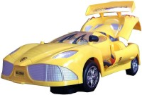 Funny Bunny Musical Antiterrorism Car With Working Headlights & Opening Boot Toy Gift For Kids (Yellow)