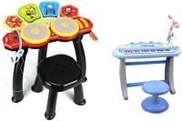 Buddy Fun 2 Piece Combo 37 Key Electronic Piano Set + 6 Head Jazz Drum Set (Multicolor)