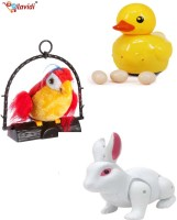 LAVIDI Combo Of Three Lovely Toys Talking Parrot, Egg Laying Duck & White Beautiful Rabbit (Multicolor)