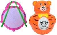New Pinch Combo Of Musical Flash Drum & Baby Tumbler Music Animal Roly-Poly Toy (Multicolor)