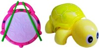 Turban Toys Combo Of Flash Drum & Mini Tortoise For Kids (Multicolor)