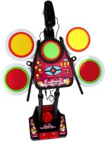 Building Mart Electronic Junior Jazz Drum With Microphone + Pedal Mechanism + Adjustable Heights - Educational Musical Toy (Multicolor)