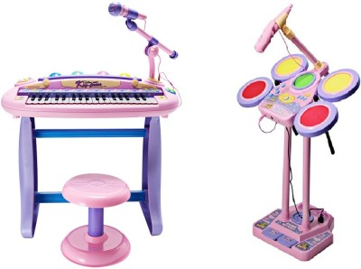 Buddy Fun 2 Piece Combo 37 Key Electronic Piano + Junior Jazz Drum - Educational Musical Toys (Pink)