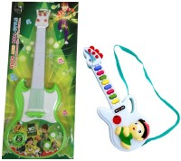 New Pinch Battery Oprated Rockband Green Big With Small Guitar (Multicolor)