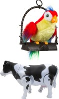 A R ENTERPRISES TALKING PARROT AND WALKING MILK COW-SET OF 2 (Multicolor)