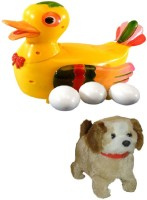 Shop & Shoppee Combo Of Jumping Puppy & Duck Lays Eggs Battery Operated Toy (Multicolor)