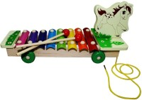 Shopat7 Deer Shape Multicolor Wooden Animal Xylophone (Multicolor)