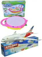 New Pinch Combo Of Flash Drum With Musical Plane For Kids (Multicolor)