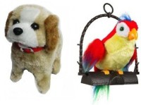 Emob Combo Of Fantastic Puppy And Talk Back Parrot (Multicolor)