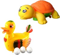 New Pinch Combo Of Funny Duck Lays Eggs With Projection Turtle Light & Sound Battery Operated Toy (Multicolor)
