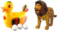 New Pinch Combo Of Funny Duck Lays Eggs With Lion Light & Sound Battery Operated Toy (Multicolor)