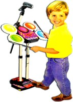 LUDUS Electronic Drum Beat Set With Mp3 Plug-In + Microphone + Pedal Mechanism + Adjustable Heights (Multicolor)