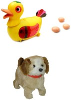 A R Enterprises Egg Laying Duck With Eggs And Jumping Dog (Multicolor)