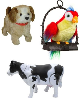 A R Enterprises Jumping Dog, Talking Parrot And Walking Milk Cow Combo Of 3 Toys (Multicolor)
