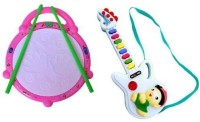 Turban Toys Combo Of Musical Flash Drum And Mini Guitar (Multicolor)
