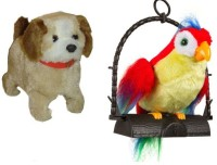 9Perfect Combo Of Fantastic Jumping Puppy And Talk Back Parrot (Multicolor)