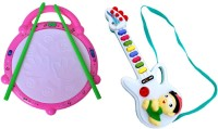 New Pinch Combo Of Musical Flash Drum With Mini Guitar For Kids (Multicolor)