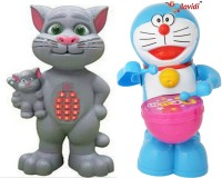 LAVIDI Combo Of Two Musical & Learning Toys, Talking Tom Mother With Kid & Doraemon Drummer (Multicolor)