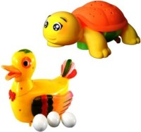 Turban Toys Combo Of Funny Duck Lays Eggs With Projection Turtle Light & Sound Battery Operated Toy (Multicolor)