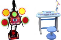 Buddy Fun 2 Piece Combo 37 Key Electronic Piano + Junior Jazz Drum - Educational Musical Toys (Multicolor)