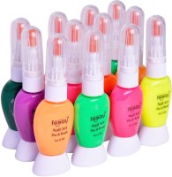 Foolzy Pack Of 12 Twoway Nail Art Polish With Pen (Orange::Green::Pink::Yellow::Purple::Blue)