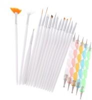Looks United Combo Of 15 Pcs Nail Art Brush Set And 5 Pcs Nail Dotting Tools (White)