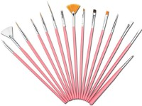 Jayhari 15pcs UV Gel Nail Art Design Painting Drawing Brushes (Pink)