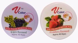 V-Color Nail Polish Remover Pads (Strawberry, Grapes)