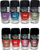 Elco Nail Polish Exclusive Combo(Pack Of 8) 48 Ml (Light Purple, Electric Blue, Cherry Red, Pearl Green, Caramel Brown, Blood Red, Gloss Pink, Mettalic Copper)