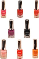 Lorenza Combo Set-24 Nail Lacquer (Pack Of 8) 15 Ml (Sunflower-262, My Bebe-310, Pink Redefined-327, This Is It-455, Las Veaas-472, Cherry-566, Mauved-641, Black Diamond-900)