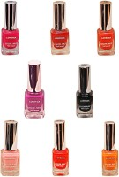 Lorenza Combo Set-20 Nail Lacquer (Pack Of 8) 15 Ml (Sunflower-262, My Bebe-310, Vibrant-375, OMG-404, Las Veaas-472, Party Time-550, Attitude-630, Black Diamond-900)